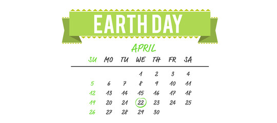 april calendar against earth day banner
