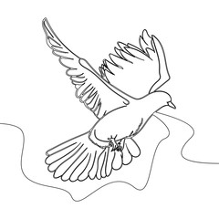 Continuous one line drawing Flying pigeon logo. Black and white vector illustration Concept