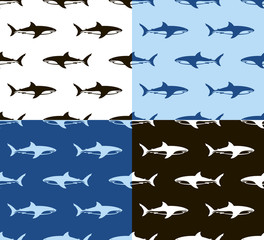 Sharks seamless pattern. Black, white and blue.