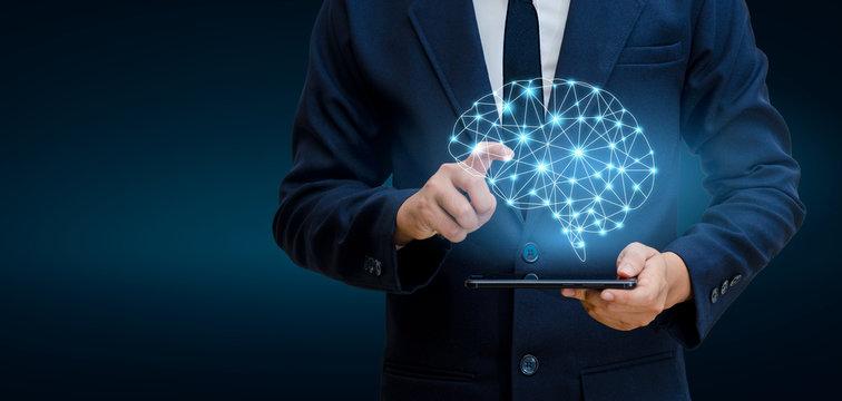 Hand Businesspeople press the phone. Brain Graphic Binary Blue Technology