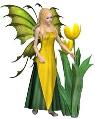 Blonde Haired Yellow Tulip Fairy - fantasy illustration