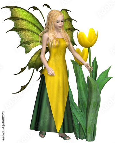 """Blonde Haired Yellow Tulip Fairy - fantasy illustration"" Stock photo and royalty-free images on Fotolia.com - Pic 203127671"