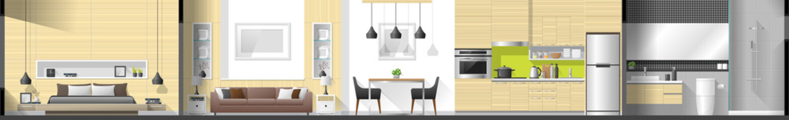 House interior section panorama including bedroom , living room , dining room , kitchen and bathroom , vector , illustration