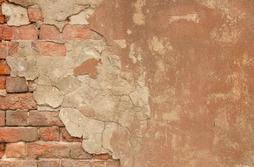 Fotobehang Oude vuile getextureerde muur Vintage textured old painted red brick wall with stained and shabby uneven plaster background