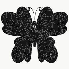 Black butterfly silhouette with intricate pattern