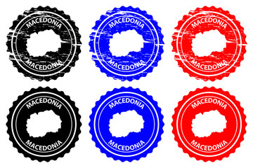 Macedonia - rubber stamp - vector, Republic of Macedonia map pattern - sticker - black, blue and red