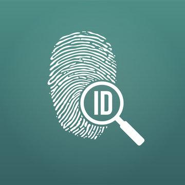 ID fingerprint icon with magnifying glass. Fingerprint vector illustration isolated on modern background.