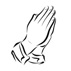 Hands folded in prayer, Christian symbols