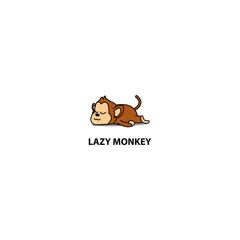 Lazy monkey sleeping icon, logo design, vector illustration