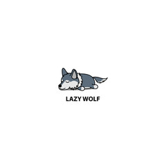 Lazy wolf sleeping icon, logo design, vector illustration