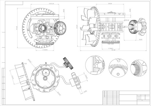 Drawing and 3d model gear mechanism on a white