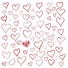Set of outline hand drawn heart icon. Hand drawn doodle grunge hearts vector set. Rough marker hearts isolated on white background. Vector collection for your graphic design.