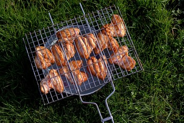 Chicken wings in sweet and sour marinade, roasted on the grill