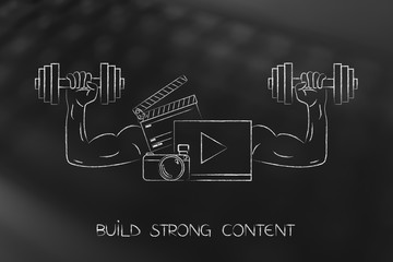 strong social media content with muscled arms holding dumbbells