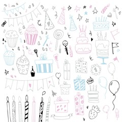 Happy Birthday hand drawn set. Party decoration, gift box, cake with candles, fireworks, confetti, party hats, bouquet, desserts and beverages. Vector outline illustration isolated on white.