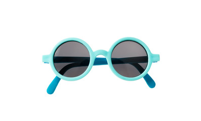 Light blue frame sunglasses isolated on white background, top view Wall mural
