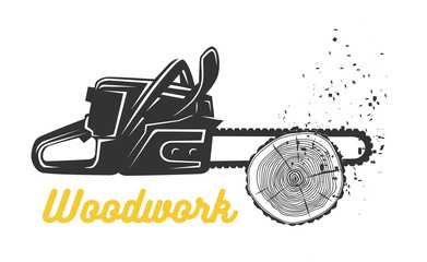Woodworking. Chainsaw logo template.