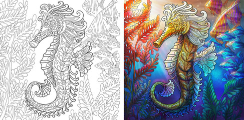 Coloring page and color sample of underwater background. Seahorse and shoal of fishes.