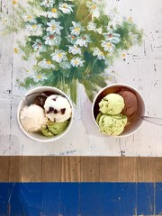 Selection of gourmet flavours of Italian ice cream.