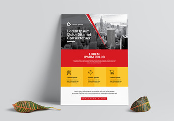 Business Flyer Layout with Red and Orange Accents