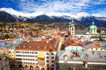Innsbruck city panorama with Tyrolian Alps, Tyrol, Austria