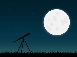 Telescope and Moon Illustration