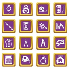 Measure precision icons set vector purple square isolated on white background