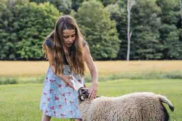 Little girl feeding milk to sheep on field