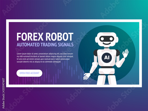 Stock exchange trading robot banner  Forex market  Forex