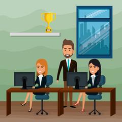 elegant business people in the office scene vector illustration design