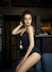 Beautiful girl in a sexy black lingerie