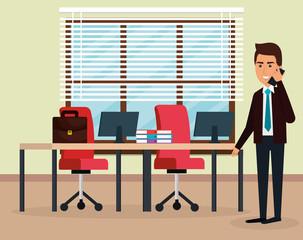 elegant businessman in the office scene vector illustration design