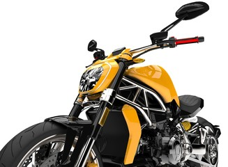 Modern yellow super bike - tail extreme closeup shot