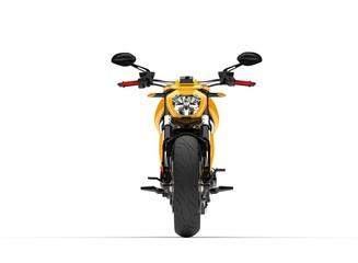 Modern yellow super bike - tail front view