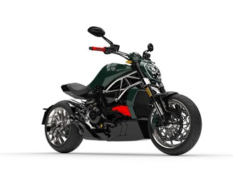 Dark forest green modern powerful motorcycle