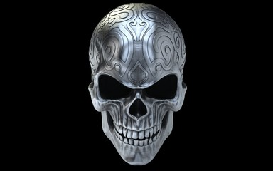 Ornamental dirty silver angry skull