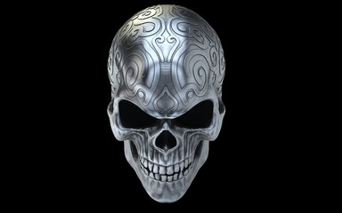 Angry old silver evil skull