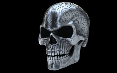 Angry old silver evil skull - side view