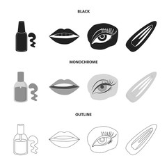 Nail polish, tinted eyelashes, lips with lipstick, hair clip.Makeup set collection icons in black,monochrome,outline style vector symbol stock illustration web.