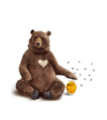 ours brun coeur miel protecteur - Ours Coeur
