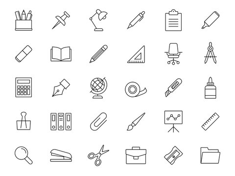stationery appliance line vector collection icons set
