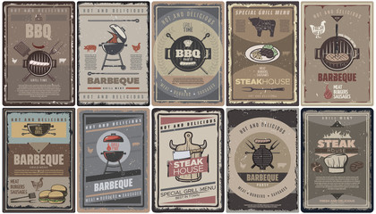 Vintage Colored Barbecue Brochures Collection
