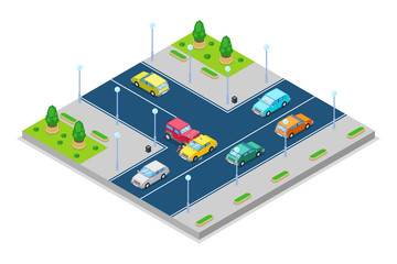 Car accident and crash, vector isometric 3D illustration. Collision at intersection of the main and secondary roads.
