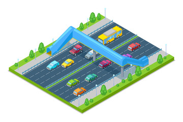 Highway and crosswalk bridge for people above the road. Vector isometric 3D illustration. Safety overpass