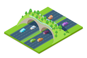 Highway and green bridge for animals above the road. Vector isometric 3D illustration. Save environment and ecology