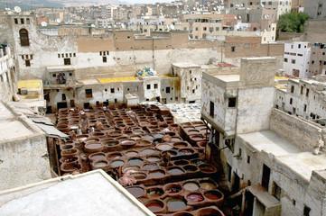 Vue générale de la tannerie de Fès, Maroc