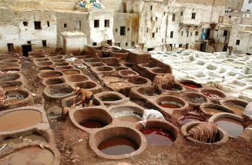 Vue générale de la tannerie de Fès, MarocMaroc