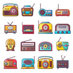 Radio music old device icons set. Cartoon illustration of 16 radio music old device vector icons for web
