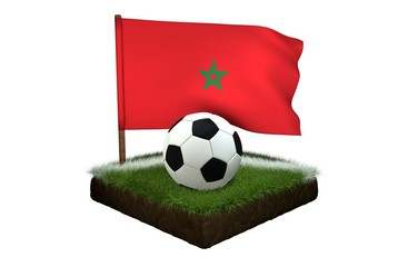 Ball for playing football and national flag of Morocco on field with grass