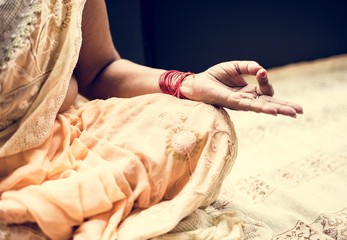 A meditating Indian woman